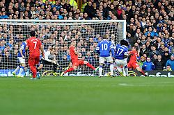 Everton's Romelu Lukaku scores a goal. - Photo mandatory by-line: Dougie Allward/JMP - Tel: Mobile: 07966 386802 23/11/2013 - SPORT - Football - Liverpool - Merseyside derby - Goodison Park - Everton v Liverpool - Barclays Premier League
