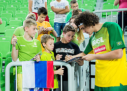 Anderson Varejao of Brasil with fans prior to the friendly basketball match between National Teams of Slovenia and Brasil at Day 2 of Telemach Tournament on August 22, 2014 in Arena Stozice, Ljubljana, Slovenia. Photo by Vid Ponikvar / Sportida