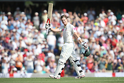 © Licensed to London News Pictures. 03/01/2014. Steve Smith celebrates after scoring a century during the 5th Ashes Test Match between Australia Vs England at the SCG on 03 January, 2013 in Melbourne, Australia. Photo credit : Asanka Brendon Ratnayake/LNP