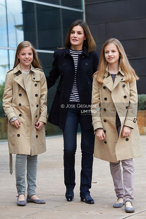 Princess Sofia, Queen Letizia of Spain, Crown Princess Leonor visited King Juan Carlos of Spain after his knee surgery at La Moraleja Hospital on April 7, 2018 in Madrid, Spain
