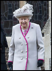 December 25, 2018 - Sandringham, United Kingdom - QUEEN ELIZABETH II leaving the Christmas Day church service at Sandringham in Norfolk, United Kingdom. (Credit Image: © Stephen Lock/i-Images via ZUMA Press)