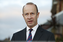 © Licensed to London News Pictures. 22/01/2018. Folkstone, UK. UKIP Leader HENRY BOLTON gives a statement to the media outside his hotel in Folkestone, Kent following a series of resignations within the party. Bolton, who has only been leader of UKIP since September 2017, has come under pressure following unfavourable stories in the press about his personal life and the behaviour of his former girlfriend Jo Marney. Photo credit: Peter Macdiarmid/LNP