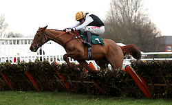 """Shantung ridden by Leighton Aspell competing in the racingtv.com/freetrial Mares' """"National Hunt"""" Novices' Hurdle during Midlands Raceday at Warwick Racecourse."""