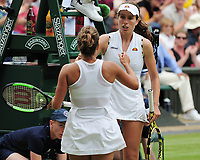 Tennis - 2019 Wimbledon Championships - Week Two, Tuesday (Day Eight)<br /> <br /> Women's Singles, Quarter-Final: Barbora Strycoya ((CZE) v Johanna Konta (GBR)<br /> <br /> Johanna Konta congratulates Barbora Strycoya, on Centre Court.<br /> <br /> COLORSPORT/ANDREW COWIE