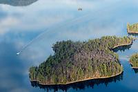 Lakes Biplane flying over Lake Winnipesaukee November, 2012.