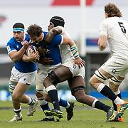 Londra 13/02/2021, Twickenham Stadium<br /> Guinness Six Nations 2021<br /> Inghilterra vs Italia <br /> Michele Lamaro placcato da Maro Itoje