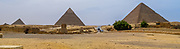 The Pyramids of Giza consist of the Great Pyramid of Giza (also known as the Pyramid of Cheops or Khufu , the slightly smaller Pyramid of Khafre (or Chephren) and the relatively modest-sized Pyramid of Menkaure (or Mykerinos). The Great Sphinx lies on the east side of the complex