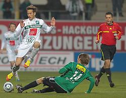 26.11.2011, Keine Sorgen Arena, Ried im Innkreis, AUT, 1.FBL, SV Josko Ried vs FC Wacker Innsbruck, im Bild (v.l.n.r.) Thomas Bergmann, (FC Wacker Innsbruck, #14) und Jan Marc Riegler, (SV Josko Ried, #14), EXPA Pictures © 2011, PhotoCredit: EXPA/ R. Hackl