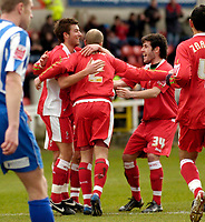 Photo: Leigh Quinnell.<br /> Swindon Town v Chester City. Coca Cola League 2. 24/02/2007. Swindons Jack Smith (centre)is congratulated after scoring his penalty.