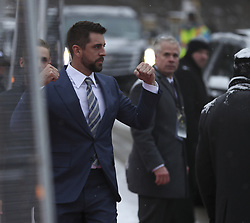 February 3, 2018 - Minneapolis, MN, USA - Green Bay Packers quarterback Aaron Rogers acknowledges cheering fans as he makes his way to the Red Carpet after arriving at the NFL Honors event in Minneapolis on Saturday, Feb. 3, 2018. (Credit Image: © Jeff Wheeler/TNS via ZUMA Wire)
