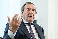 11 DEC 2019, HANNOVER/GERMANY:<br /> Gerhard Schroeder, SPD, Bundeskanzler a.D., waehrend einem Interview, im Buero seiner Anwaltskanzlei<br /> IMAGE: 20191211-01-026<br /> KEYWORDS: Gerhard Schröder, Büro
