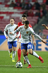 December 5, 2017 - Lisbon, Portugal - Basel's midfielder Mohamed Elyounoussi from Norway (24) vies with Benfica's Portuguese midfielder Pizzi during the UEFA Champions League Group A football match between SL Benfica and FC Basel at the Luz stadium in Lisbon, Portugal on December 5, 2017. Photo: Pedro Fiuza (Credit Image: © Pedro Fiuza via ZUMA Wire)