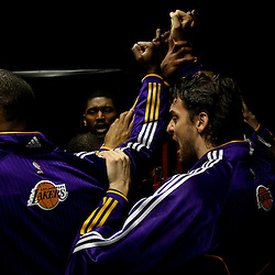 April 28, 2011; New Orleans, LA, USA; Los Angeles Lakers power forward Pau Gasol (16) huddles up with teammates in the tunnel before game six of the first round of the 2011 NBA playoffs against the New Orleans Hornets at the New Orleans Arena.    Mandatory Credit: Derick E. Hingle