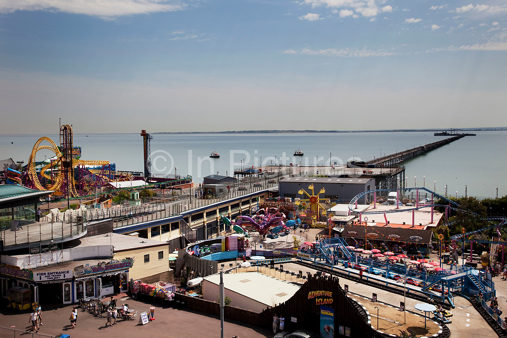 Overview of Adventure Island Funfair at Southend-on-sea, Essex. The town could be described as run down as while there are some signs of affluence, these are few and far between. The predominant atmosphere is quite rough feeling and quite poor. Southend is a seaside resort that is very popular with people from the East side of London due to it's close proximity, just an hour away by train along the Thames Gateway. With the decline of seaside resorts, from the 1960s much of the centre was developed for commerce and many of the original features were destroyed through redevelopment or neglect.