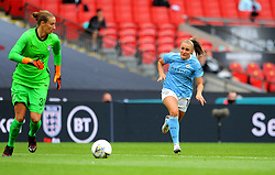 Georgia Stanway of Manchester City Women applies pressure on Ann-Katrin Berger of Chelsea Women - Mandatory by-line: Nizaam Jones/JMP - 29/08/2020 - FOOTBALL - Wembley Stadium - London, England - Chelsea v Manchester City - FA Women's Community Shield