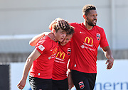 Canterbury United players celebrate after scoring a goal.<br /> ISPS Handa Men's Premiership football match between Canterbury United and Auckland City at English Park in Christchurch on Sunday 13 December 2020. © Copyright image by Martin Hunter / www.photosport.nz