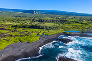 Ninole Cove, Black Sand Beach, Punaluu, Big Island of Hawaii, Hawaii
