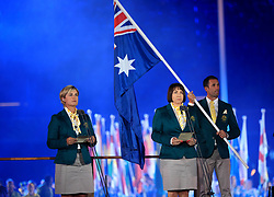 Australia Bowls athlete Karen Murphy (left) and Netball coach Lisa Alexander deliver the athletes oath during the Opening Ceremony for the 2018 Commonwealth Games at the Carrara Stadium in the Gold Coast, Australia.