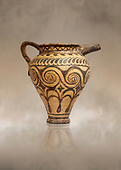 Minoan clay decorated ewer jug, Speial Palatial Tradition , Knossos Palace 1500-1450 BC BC, Heraklion Archaeological  Museum. .<br /> <br /> If you prefer to buy from our ALAMY PHOTO LIBRARY  Collection visit : https://www.alamy.com/portfolio/paul-williams-funkystock/minoan-art-artefacts.html . Type -   Heraklion   - into the LOWER SEARCH WITHIN GALLERY box. Refine search by adding background colour, place, museum etc<br /> <br /> Visit our MINOAN ART PHOTO COLLECTIONS for more photos to download  as wall art prints https://funkystock.photoshelter.com/gallery-collection/Ancient-Minoans-Art-Artefacts-Antiquities-Historic-Places-Pictures-Images-of/C0000ricT2SU_M9w