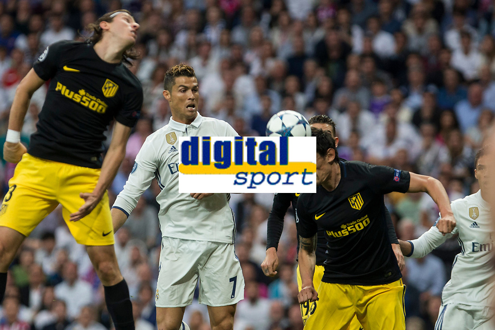 Stefan Savic of Atletico de Madrid battles for an aerial ball with Cristiano Ronaldo of Real Madrid  during the match of Champions League between Real Madrid and Atletico de Madrid at Santiago Bernabeu Stadium  in Madrid, Spain. May 02, 2017. (ALTERPHOTOS/Rodrigo Jimenez)