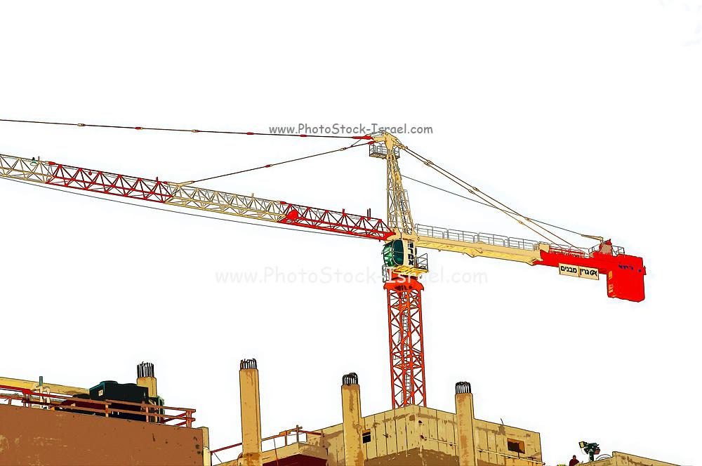 Digitally enhanced image of a construction crane