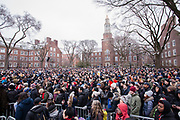 Brooklyn, NY - 2 March 2019. Sanders supporters fill the quadrangle at Bernie Sanders' first rally for the 2020 presidential primary at Brooklyn College. The image shows less than half of the eastern part of the quadrangle; the rest of the quad was similarly filled.