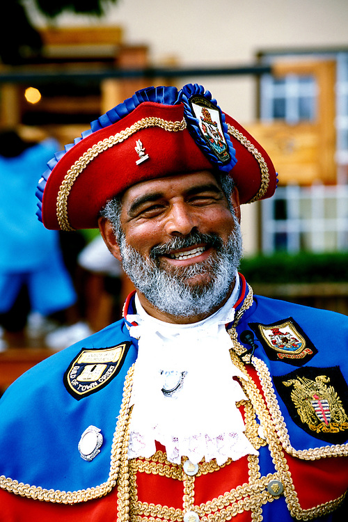 Bermuda: St. George..Town Crier, Model Released .Photo Copyright Lee Foster, 510/549-2202, lee@fostertravel.com, www.fostertravel.com...Photo #: bermud104