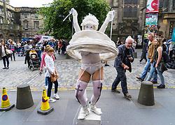 Street performer on High Street during Edinburgh Fringe Festival 2016 in Scotland , United Kingdom