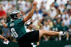 Bethlehem, PA - August 2nd 2008 - Punter Sav Rocca punts the ball during the Philadelphia Eagles Training Camp at Lehigh University (Photo by Brian Garfinkel)