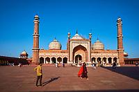 Inde, Delhi, vieux Delhi, la mosquée Jama Masjid, construite par l'empereur moghol Shah Jahan entre 1644 et 1656 // India, Delhi, Old Delhi, Jama Masjid mosque build by Shah Jahan, the moghol emperor
