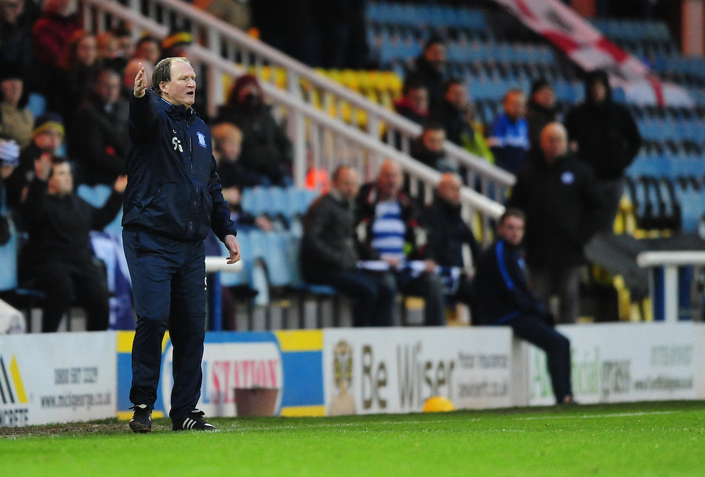 Preston North End manager Simon Grayson shouts instructions to his team from the dug-out<br /> <br /> Photographer Chris Vaughan/CameraSport<br /> <br /> Football - The FA Cup Third Round - Peterborough United v Preston North End - Saturday 9th January 2016 - ABAX Stadium - Peterborough <br /> <br /> © CameraSport - 43 Linden Ave. Countesthorpe. Leicester. England. LE8 5PG - Tel: +44 (0) 116 277 4147 - admin@camerasport.com - www.camerasport.com