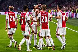 14-08-2018 NED: Champions League AFC Ajax - Standard de Liege, Amsterdam<br /> Third Qualifying Round,  3-0 victory Ajax during the UEFA Champions League match between Ajax v Standard Luik at the Johan Cruijff Arena / David Neres #7 of Ajax, Daley Blind #17 of Ajax, Lasse Schone #20 of Ajax, Dusan Tadic #10 of Ajax