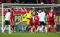Falkirk's keeper Michael McGovern saves. Falkirk 0 v 5 Aberdeen, the third round of the Scottish League Cup.<br /> ©Michael Schofield.