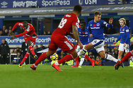 Abdoulaye Doucoure of Watford (l) shoots at goal but sees his effort saved. Premier league match, Everton vs Watford at Goodison Park in Liverpool, Merseyside on Sunday 5th November 2017.<br /> pic by Chris Stading, Andrew Orchard sports photography.