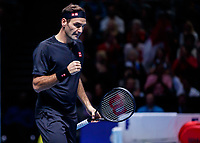 Tennis - 2019 Nitto ATP Finals at The O2 - Day Seven<br /> <br /> Semi Finals: Stefanos Tsitsipas (Greece) Vs. Roger Federer (Switzerland) <br /> <br /> Roger Federer (Switzerland) with a quiet celebration after he rescues break point<br /> <br /> COLORSPORT/DANIEL BEARHAM<br /> <br /> COLORSPORT/DANIEL BEARHAM