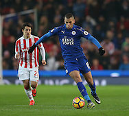 Islam Slimani of Leicester City during the English Premier League match at the Bet 365 Stadium, Stoke on Trent. Picture date: December 17th, 2016. Pic Simon Bellis/Sportimage