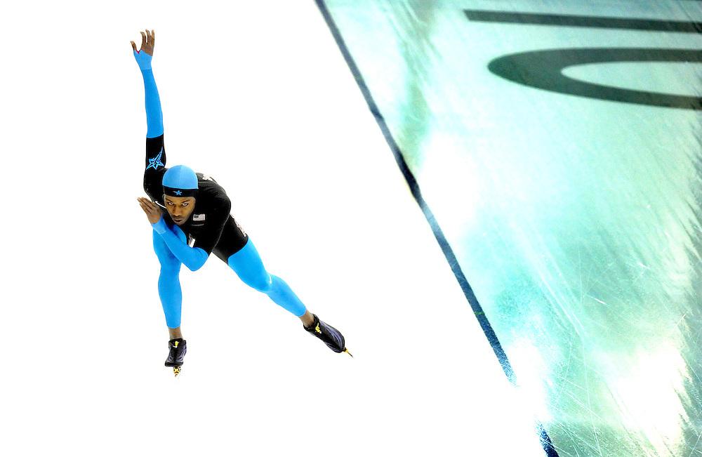 Canada, Vancouver, 10-02-2010.<br /> Olympische Winterspelen.<br /> Richmond Oval.<br /> Schaatsen, Training.<br /> Shani Davis uit de Verenigde Staten tijdens de training.<br /> Foto: Klaas Jan van der Weij