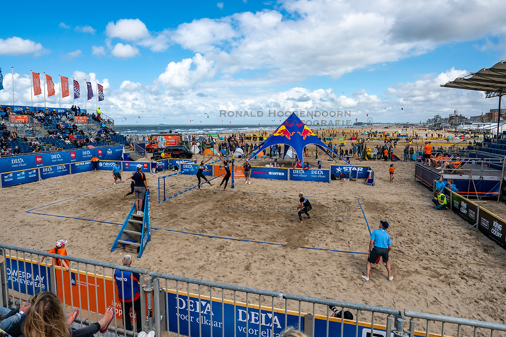 Centercourt of the Final Day of the DELA NK Beach volleyball for men and women will be played in The Hague Beach Stadium on the beach of Scheveningen on 23 July 2020 in Zaandam.