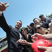 CANASTOTA, NY - JUNE 10:  2018 inductee Vitali Klitschko takes a photo with a fan prior to the 2018 induction ceremony at the International Boxing Hall of Fame for the Weekend of Champions event on June 10, 2018 in Canastota, New York. (Photo by Alex Menendez/Getty Images) *** Local Caption *** Vitali Klitschko