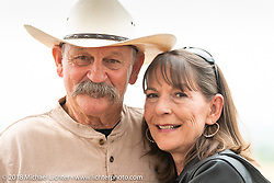 Custom bike builder Stacy McCleary with his wife Danell at the Flying Piston Builder Breakfast at the Buffalo Chip during the 78th annual Sturgis Motorcycle Rally. Sturgis, SD. USA. Sunday August 5, 2018. Photography ©2018 Michael Lichter.