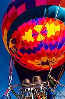 A colorful hot air balloon envelope, Albuquerque International Balloon Fiesta, Albuquerque, New Mexico USA.