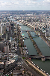 Aerial view of a river passing through a city, Seine River, Paris, France