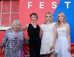 Edinburgh International Film Festival 2019<br /> <br /> Hurt By Paradise (World Premiere)<br /> <br /> Stars and guests arrive on the red carpet for the world premiere<br /> <br /> Pictured: (l to r) Veronica Clifford, Camilla Rutherford, Director Greta Bellamacina and Tanya Burr<br /> <br /> Aimee Todd   Edinburgh Elite media