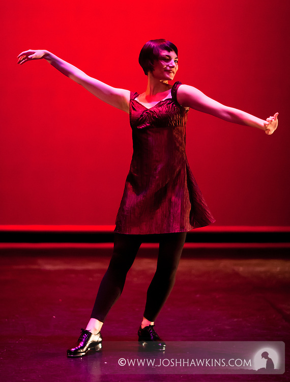 """Chicago Tap Theatre's """"Tidings of Tap"""" performed at UIC Theatre in Chicago, IL on Dec 9-11, 2011..""""Kiever Dreydlekh (Dreidels of Kiev)"""" choreography by Mark Yonally, pictured dancer(s):Jennifer Pfaff Yonally"""
