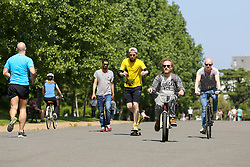 © Licensed to London News Pictures. 09/05/2020. London, UK. Cyclists in Finsbury Park, north London on what could be he hottest day of the year so far. Prime Minister Boris Johnson is set to announce on Sunday, 10 May, measures to ease coronavirus lockdown, which was introduced on 23 March to slow the spread of the COVID-19. Photo credit: Dinendra Haria/LNP