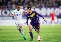 Leon Benko of NK Olimpija vs Mitja Viler of Maribor during 2nd Leg football match between NK Maribor and NK Olimpija Ljubljana in Semifinal of Slovenian Football Cup 2016/17, on April 12, 2017 in Stadium Ljudski vrt, Maribor, Slovenia. Photo by Vid Ponikvar / Sportida