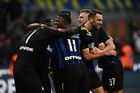 Inter players celebrate the victory at the end of the Serie A 2018/2019 football match between Fc Internazionale and AC Milan at Giuseppe Meazza stadium Allianz Stadium, Milano, October, 21, 2018 <br />  Foto Andrea Staccioli / Insidefoto