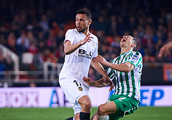 February 28, 2019 - Valencia, U.S. - VALENCIA, SPAIN - FEBRUARY 28: Francis Coquelin, midfielder of Valencia CF make the foul to Andres Guardado, defender of Real Betis Balompie during the Copa del Rey match between Valencia CF and Real Betis Balompie at Mestalla stadium on February 28, 2019 in Valencia, Spain. (Photo by Carlos Sanchez Martinez/Icon Sportswire) (Credit Image: © Carlos Sanchez Martinez/Icon SMI via ZUMA Press)