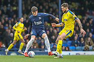 Southend United defender Rob Kiernan (15) battles for possession with AFC Wimbledon midfielder Anthony Wordsworth (40) during the EFL Sky Bet League 1 match between Southend United and AFC Wimbledon at Roots Hall, Southend, England on 16 March 2019.