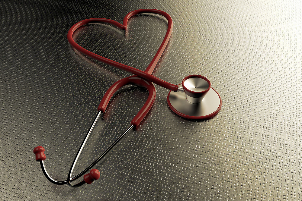 3D renderong of a stethoscope with the shape of a heart on a metallic background.